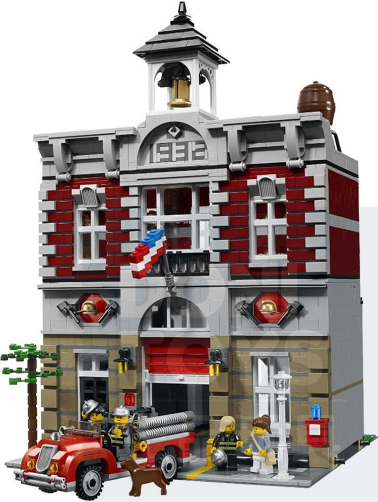 2017 DHL 15004 Fire Brigade Station 2313 PCS City Street Building Blocks Bricks Toy Gift Compatible 10197 city fire station headquarter building block toy