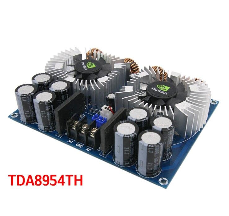 TDA8954TH DC24V 420W * 2 2.0 Channel AD + 2 Fans Digital Audio Amplifier Board