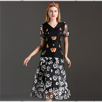Vintage Female Dresses Summer 2017 Short Sleeve Black Flowers Print Elegant Butterfly Embroidery Fashion Slim V