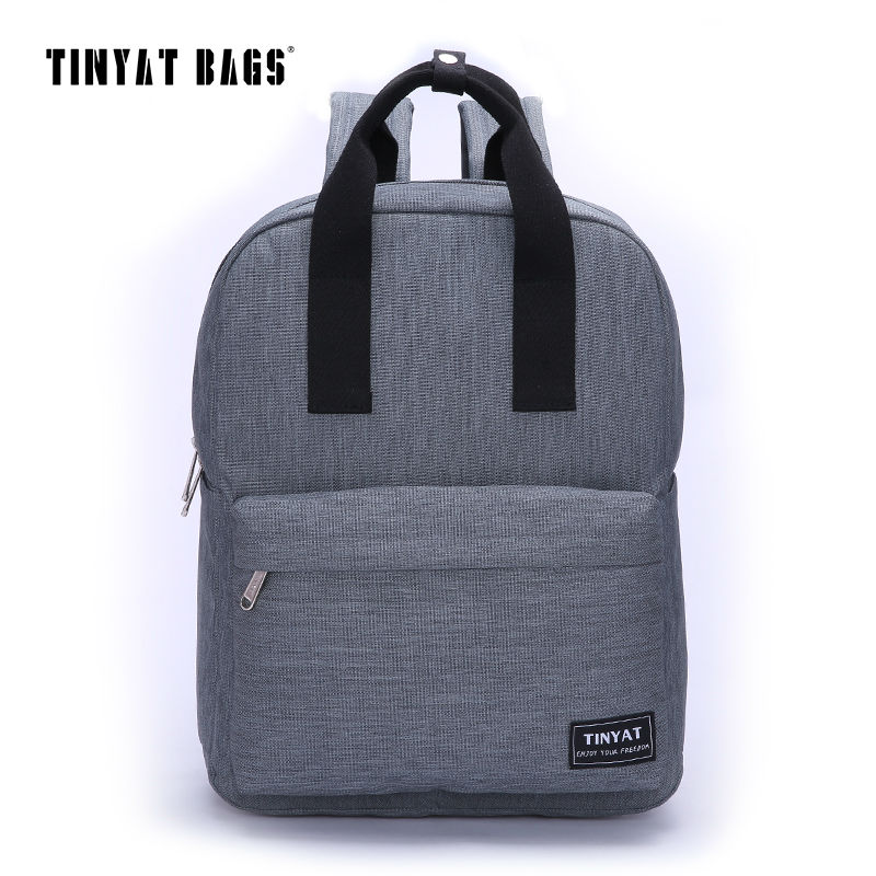 TINYAT Men Canvas Casual School Bags Backpack Male Computer Laptop Student Backpack Teenagers Leisure Travel Bag Gray Black T809 purple flowers printed dream teenagers backpack fresh preppy adorable sthdents school bags fashion travel hiking computer bag