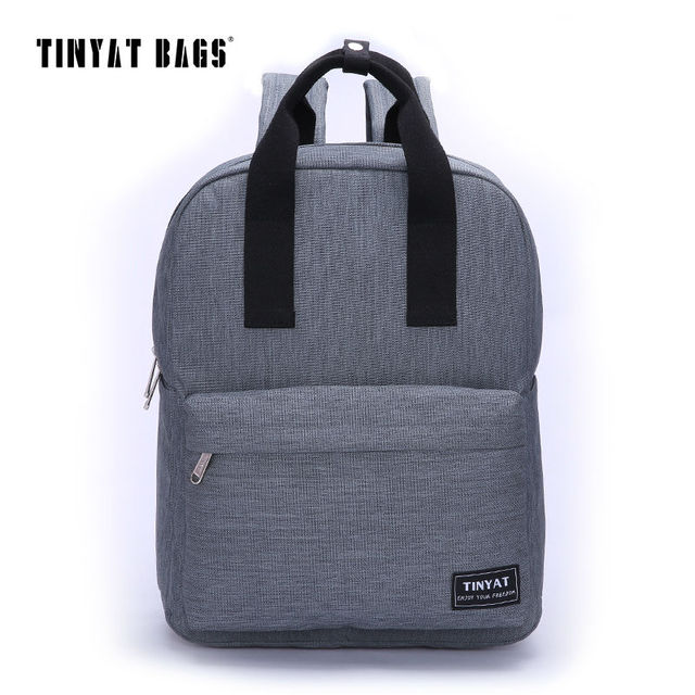 TINYAT Men Canvas Casual School Bags Backpack Male Computer Laptop Student Backpack Teenagers Leisure Travel Bag Gray Black T809