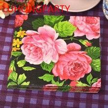 2 packs Food grade Flower rose black Color Napkin Paper 100% Virgin Wood Tissue for Party Decoration Paper Crafts цена и фото