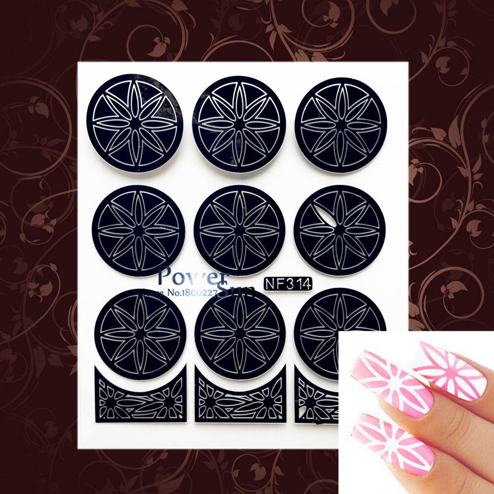 Black Hollow Stickers Stencils Star pattern Nail Vinyls Foils Nail ...