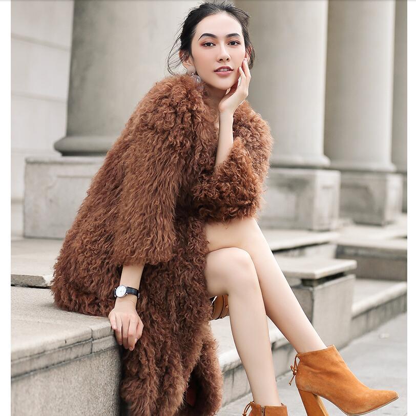 Harppihop gestrickte Mongolischen schafe pelzmantel jacke mantel Russische frauen winter warme pelz mantel outwear länger stil 4 farben-in Echtes Fell aus Damenbekleidung bei  Gruppe 1