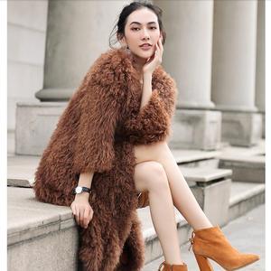 Image 1 - Harppihop  knitted Mongolian sheep fur coat jacket overcoat Russian women winter warm fur coat outwear longer style  4 colors