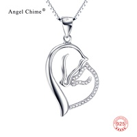 GNX10295 100 Real 925 Sterling Silver Necklaces Love Heart Horse Head Pattern Crystal Necklace Luxury Sexy