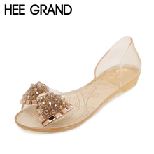 hee grand women sandals 2017  summer bling bowtie fashion peep toe jelly shoes woman crystal flats size plus 36-40 xwz722