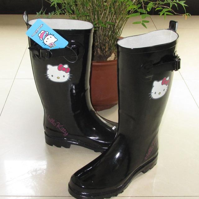 4b79c77a5 Hello Kitty shoes high women's adult rain boots fashion rainboots  slip-resistant water shoes rain shoes black rain boots