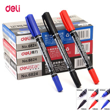 Deli 12pcs colored dual tip 0.5/1 mm fast dry permanent sign marker pens for fabric metal quality fineliner drawing