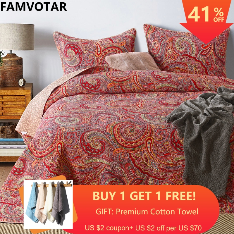 FAMVOTAR 3 Pieces Romantic Bohemian Quilted Bedspread Set Paisley Pattern Fine Printed Cotton Bedspread Queen Size