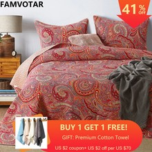 FAMVOTAR 3-Pieces Romantic Bohemian Quilted Bedspread Set Paisley Pattern Fine Printed Cotton Bedspread Queen Size 230x250CM(China)
