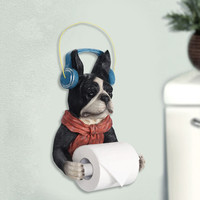 Creative cute dog roll toilet paper rack toilet tissue holder decorative bathroom paper towels rack roll tray