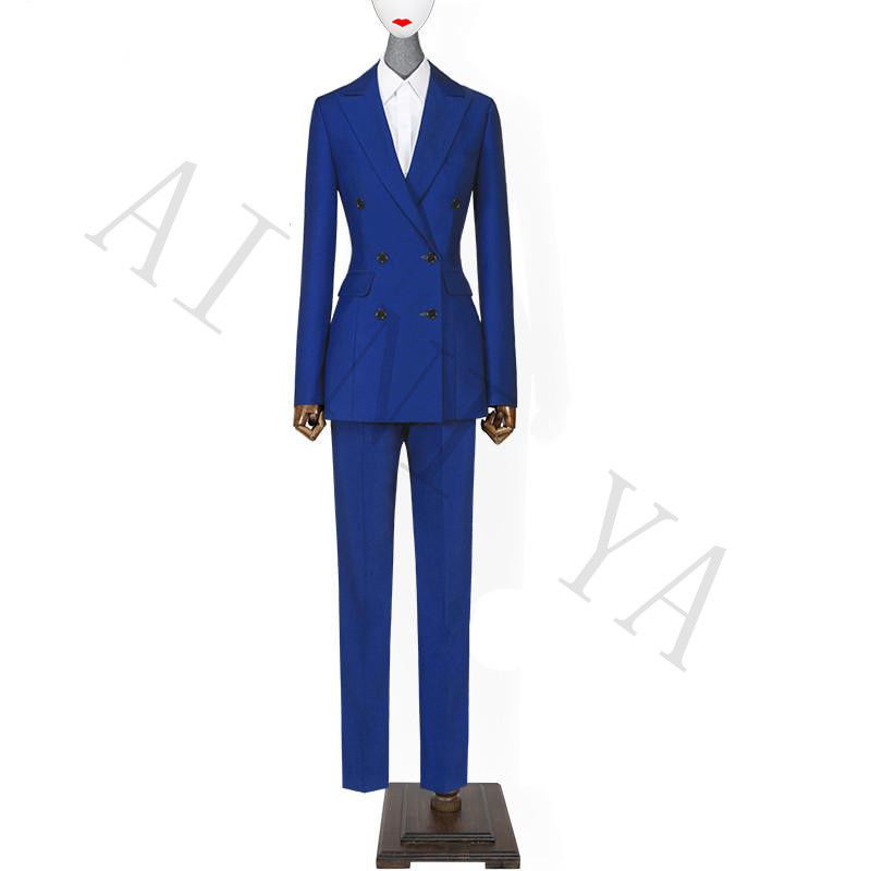 Royal Blue Women Business Suits Formal Double Breasted Slim Female Trouser Suit