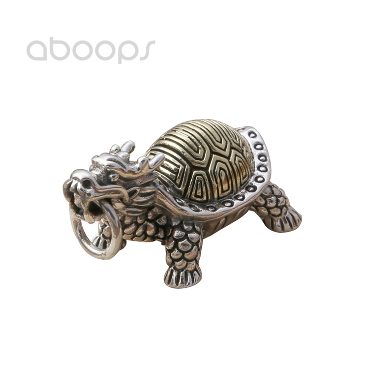 Vintage 925 Sterling Silver Dragon Turtle Pendant for Men Women Free Shipping vintage diamante turtle embellished alloy ring for men and women