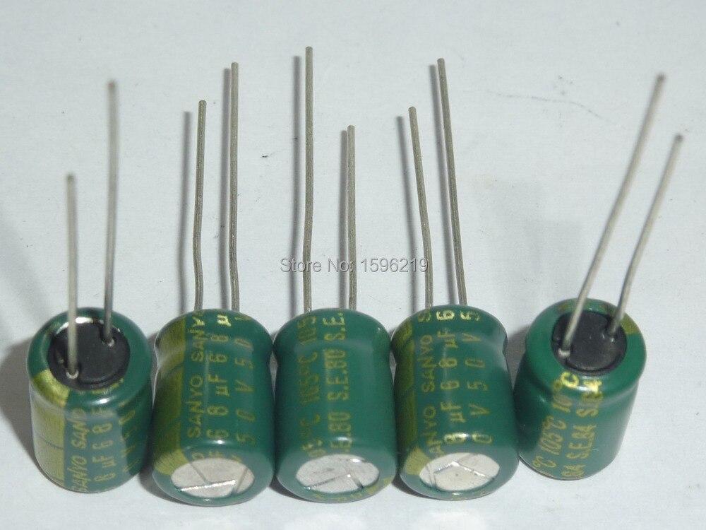 10pcs 68uF 50V  SANYO 50V68uF Aluminum Electrolytic Capacitor 8x11.5mm