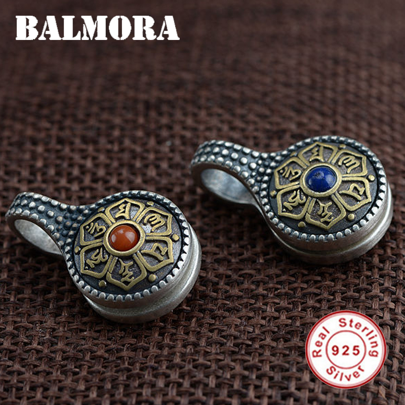BALMORA 925 Sterling Silver Buddhistic Six Words' Mantra Pendants For Women Men Retro Fashion Jewelry Without A Chain SY14881