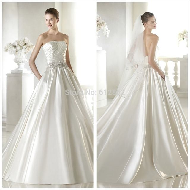 Strapless Low Back Ruced Satin Corset Beads Embellished Waist Wedding Dresses With Pockets