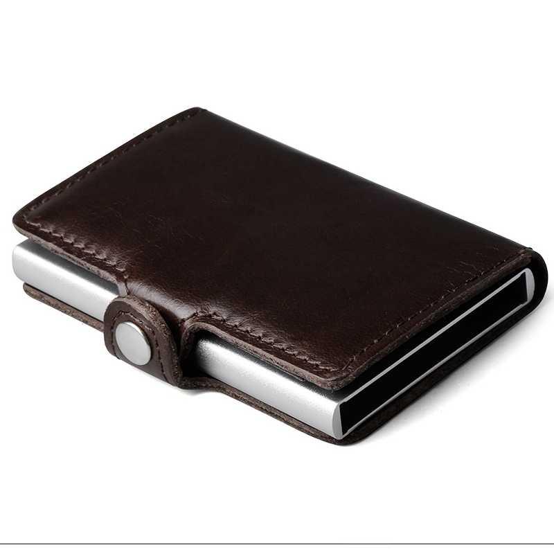 100% натуральная кожа алюминиевый кошелек ID держатель для Карт RFID Блокировка мини волшебный кошелек автоматический всплывающий кошелек для кредитных карт