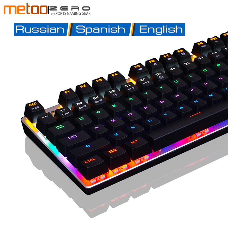 Metoo Gaming Mechanical Keyboard USB Wired Mechanical Keyboard With 87/104 keys LED Backlight For Laptop Desktop Gamer Keyboard me too gaming keyboard 87 104 keys blue red black switch wired led backlight mechanical keyboard for computer laptop games gamer