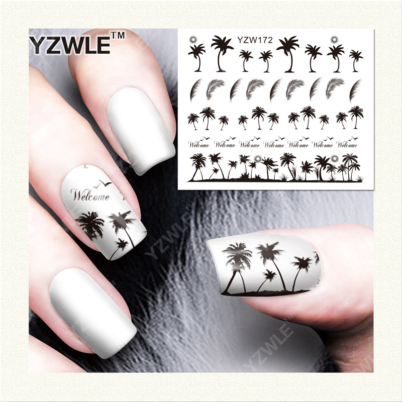 YZWLE  1 Sheet DIY Designer Water Transfer Nails Art Sticker / Nail Water Decals / Nail Stickers Accessories (YZW-172) yzwle 1 sheet diy designer water transfer nails art sticker nail water decals nail sticker accessories yzw 8196