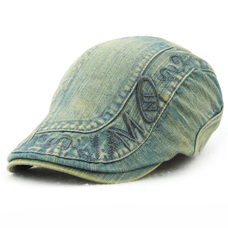 2016 Nytt mode Gatsby Newsboy Jeans Cap Men Denim Hat Golf Driving - Kläder tillbehör