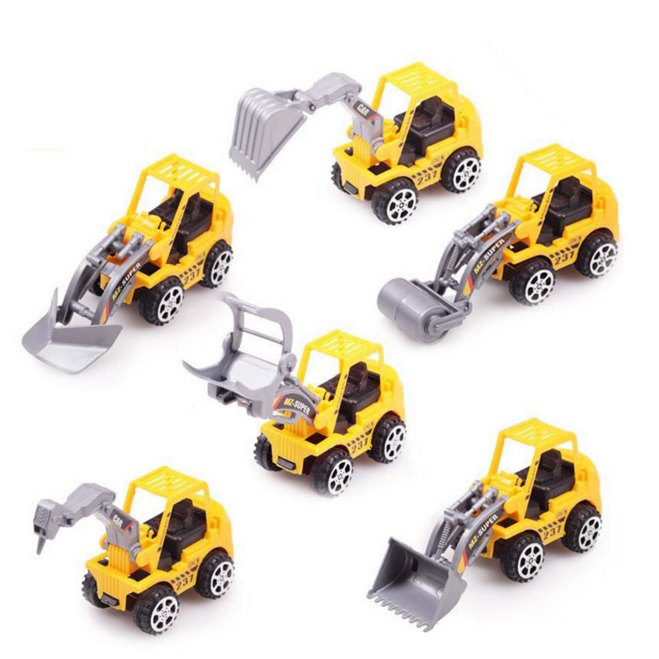 2016 New 6 Pcs/set Creative Kids Mini Car Toys Lot Vehicle Sets Educational Toys Engineering Vehicle