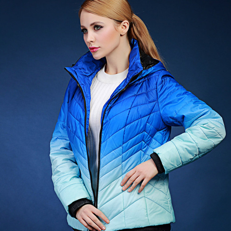 spring autumn and winter short design wadded jacket female gradient thick outerwear coats Europe and Russia