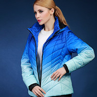2016 Autumn And Winter Short Design Plus Size Wadded Jacket Cotton Padded Jacket Female Spring Gradient