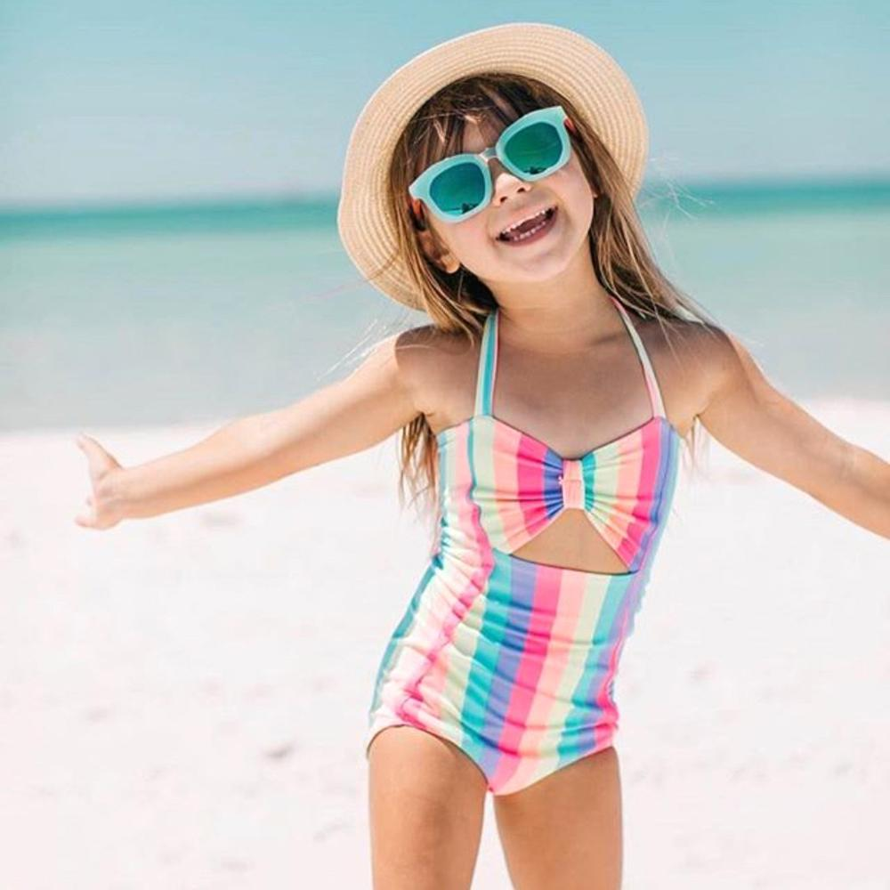 2019 Children Swimsuit Girls One Piece Children's Sleeveless Summer Sling Backless Rainbow Stripe Swimsuit Mayo De Bain Fille A1