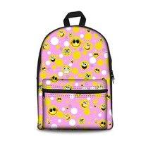 THINK Fashion Women Canvas Backpack 3D Funny Emoji Printing Bookpacks Multicolor Girls School Laptop Bag pack Mochila