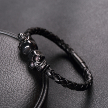 Cool Skull Braided Leather Stainless Steel Bracelet