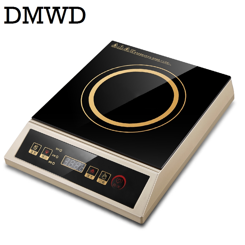DMWD Commercial 3500W plane electric Induction cooker household waterproof mini hotpot cooktop small hot pot cooking stove EU US dmwd electric induction cooker waterproof high power button magnetic induction cooker intelligent hot pot stove 110v 220v eu us