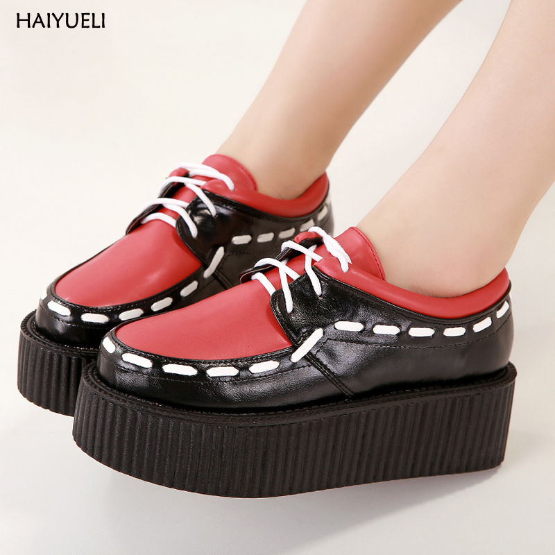Casual womens shoes Harajuku platform shoes Comfortable creepers fashion Weaving Lace up flat shoes women platform shoes women harajuku cartoon lace up wedges platform shoes 2015 casual shoes trifle thick soled graffiti flat shoes ladies creepers