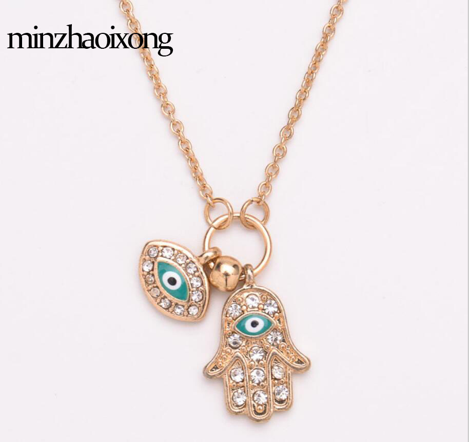 Brand Fashion Alloy Drop Oil Fatima Hand Pendant Necklace Turkey Blue Eye Amulet Devil 39 s Eye Sweater Chain Woman Jewelry in Pendant Necklaces from Jewelry amp Accessories