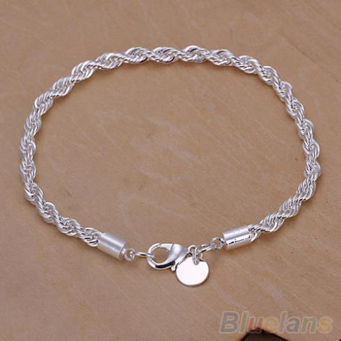 Elegant Silver Plated Twisted Rope Design Bracelet Bangle Chain 1MWN