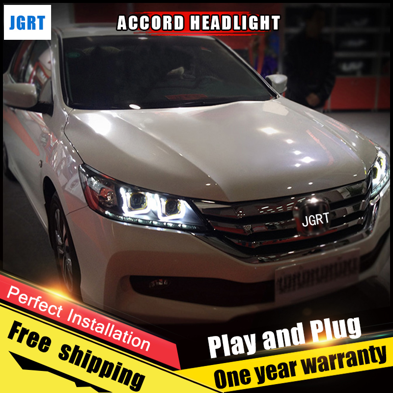 Car Style LED headlights for Honda Accord 2014-2013 for Accord head lamp LED DRL Lens Double Beam H7 HID Xenon bi xenon lens car styling led head lamp for honda cr v 2012 2014 headlight assembly drl bi xenon lens hid automobile accessorie