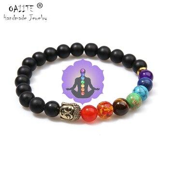 Pulsera OAIITE de oro de 7 Chakras de Buddha para perder peso para hombres y mujeres, cuentas de piedra Natural, joyería de Chakra, pulsera de Yoga, oración y terapia