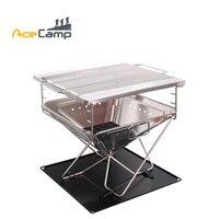 AceCamp Нержавеющаясталь древесный уголь, гриль барбекю на открытом воздухе кемпинг Пикник складной Премиум Большой Портативный посуда