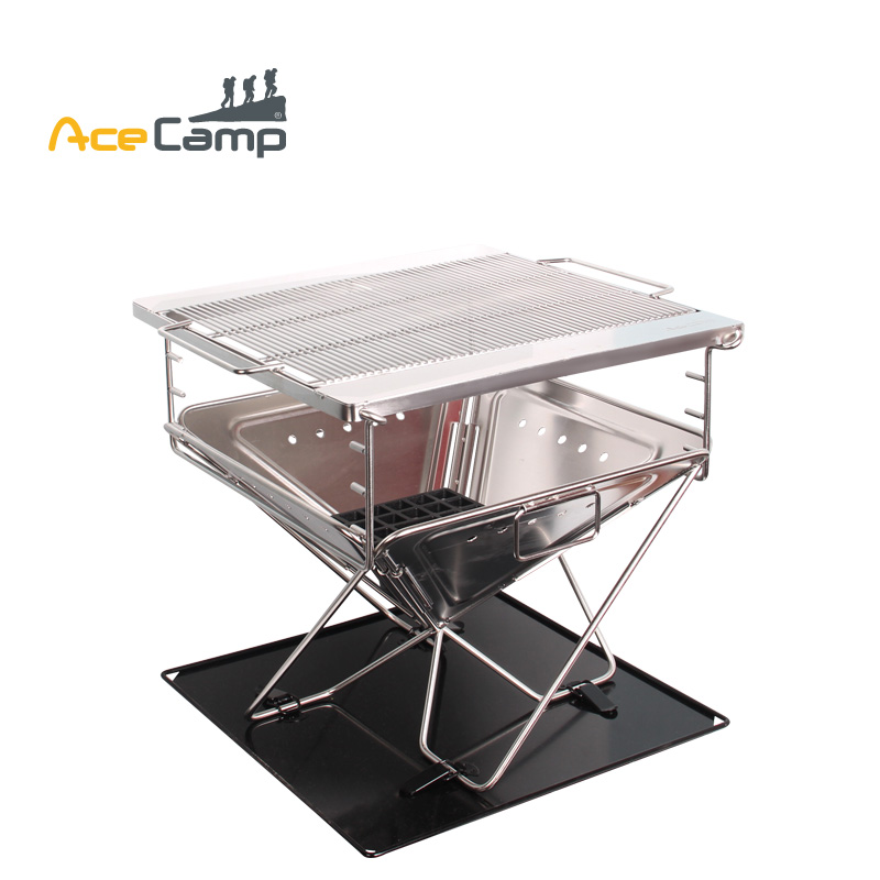 AceCamp Stainless Steel Charcoal BBQ Grill Outdoors Camping Picnic Folding Premium Large Portable Tableware extra large stainless steel camping bbq grill 50 5 x 44 5 x 43 cm