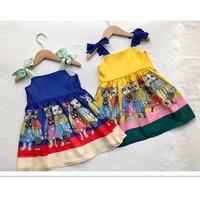 Trolls Dress Girls Summer Dresses Cartoon Cat Pattern Cute Toddler Girl Dresses Sleeveless Overall Girls Summer Clothing