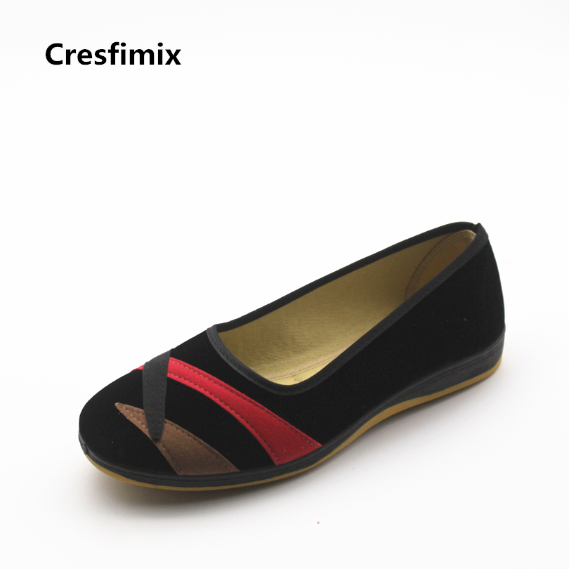 Cresfimix women fashion spring & summer dance flat shoes lacy retro black canvas shoes zapatos de mujer female casual shoes стоимость