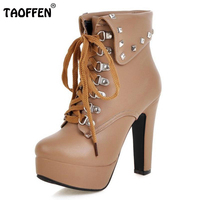 Taoffen Size 30 48 Women High Heel Cross Strap Boots Ladies Winter Warm Shoes Women Boots