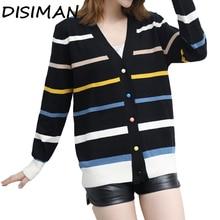 купить!  DISIMAN NEW Вязаный кардиган Свободный женский свитер с длинным рукавом Женский кардиган Женское