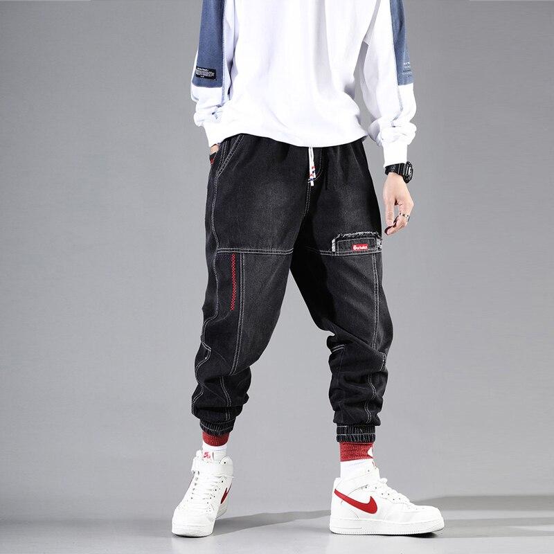Fashion Streetwear Men Jeans Black Color Loose Fit Spliced Designer Harem Jeans Men Cargo Pants Slack Bottoms Hip Hop Joggers