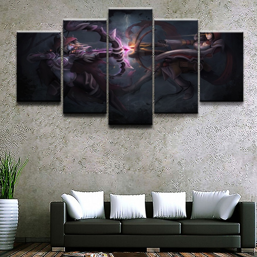 Modern Home Wall Art Decorative Frame HD Printed Painting Artworks 5 Pieces Game Heroes of the Storm Poster Canvas Pictures in Painting Calligraphy from Home Garden