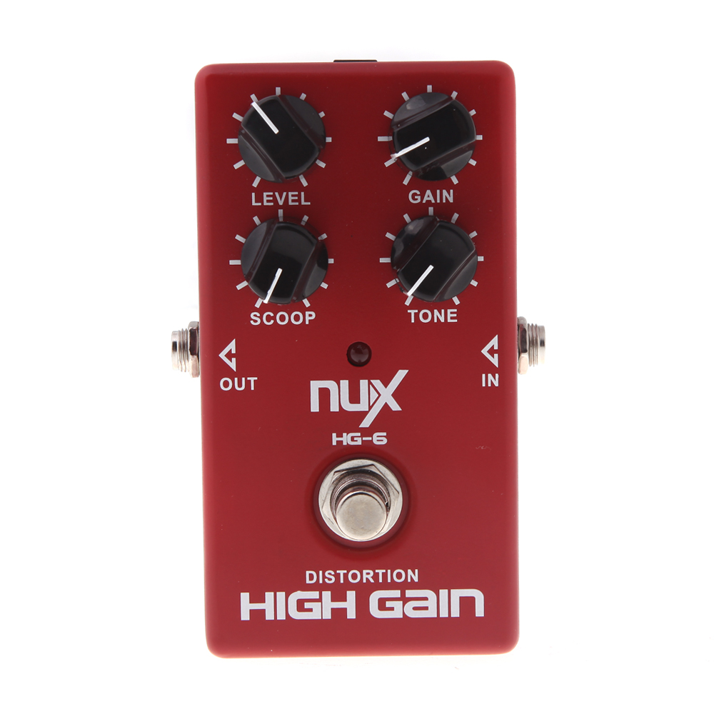 NUX HG-6 High Gain Distortion Guitar Effect Pedal Heavy Metal Rock Bypass Red Durable Guitarra Parts& Accessories aroma adr 3 dumbler amp simulator guitar effect pedal mini single pedals with true bypass aluminium alloy guitar accessories