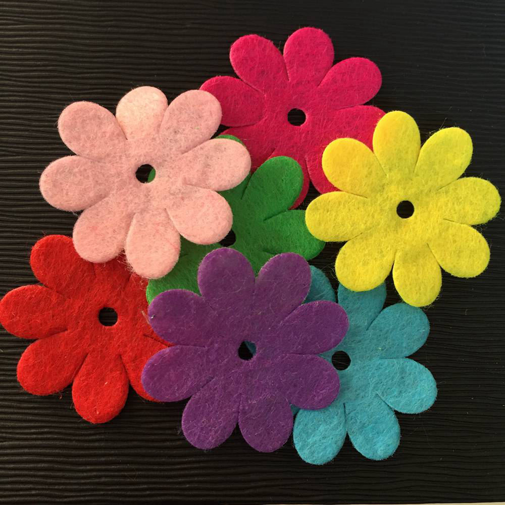 NEW 250PCS Mix 35mm Padded Felt Spring Flower Appliques Crafts Wedding Making DIY A66A*5