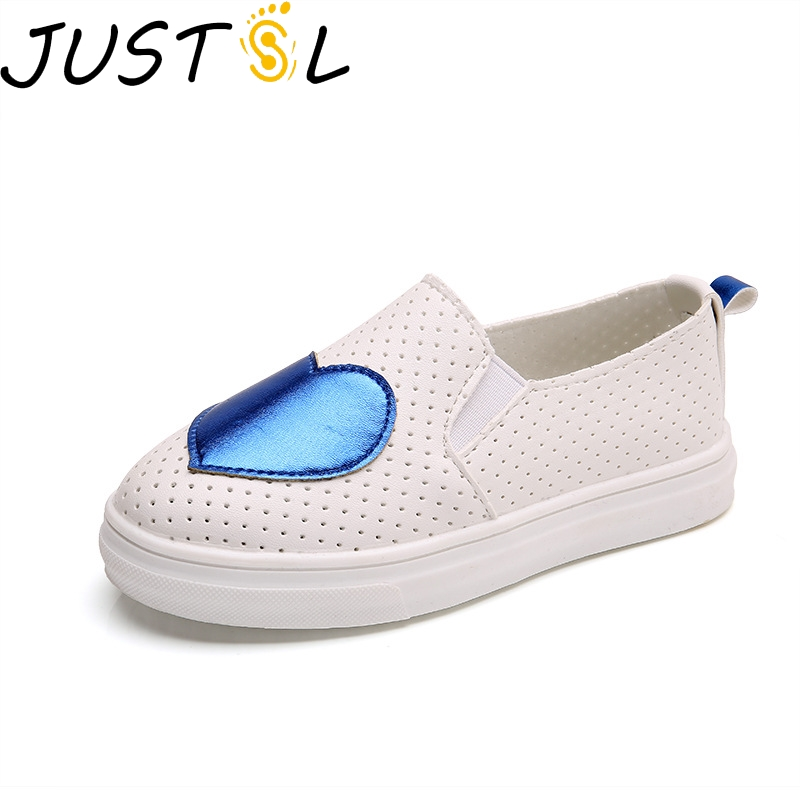 JUSTSL 2018  Children Sweet Style Love Hollow Shoes Girls Fashion Breathable Sneakers Kids Fashion Flat With Shoes Size 21-36