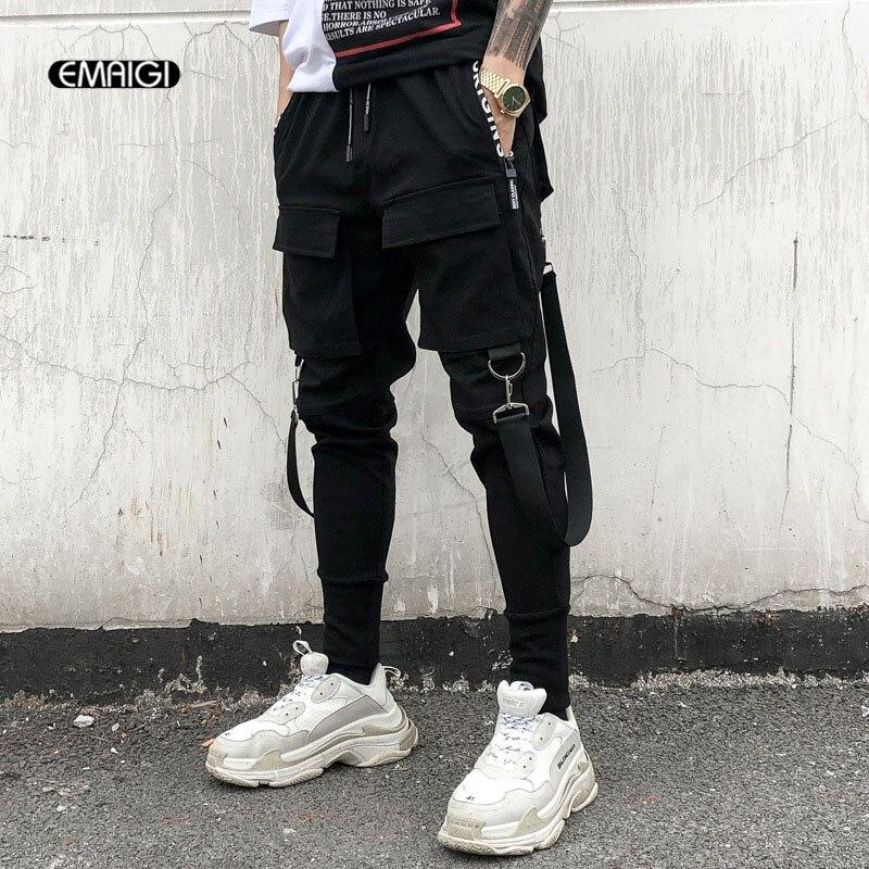 Pantalones informales de Hip Hop Punk callejero con diseño de Cintura elástica de múltiples bolsillos para hombre