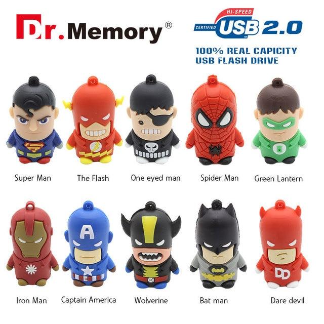 Dr.Memory USB Flash Drive Batman Super Hero Pen Drive 32/16/8/4GB Download Memory Stick High Speed Real Capacity Pendrive U Disk